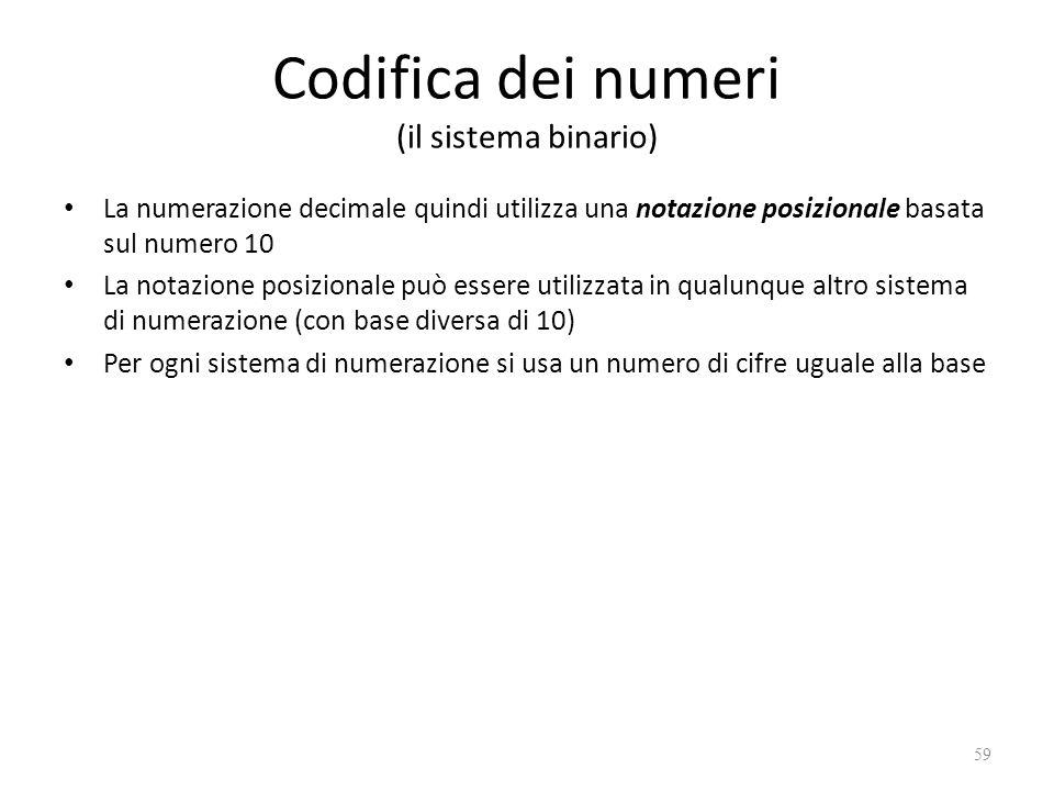 Codifica dei numeri (il sistema binario) La numerazione decimale quindi utilizza una notazione posizionale basata sul numero 10 La notazione posizionale può essere utilizzata in qualunque altro sistema di numerazione (con base diversa di 10) Per ogni sistema di numerazione si usa un numero di cifre uguale alla base 59