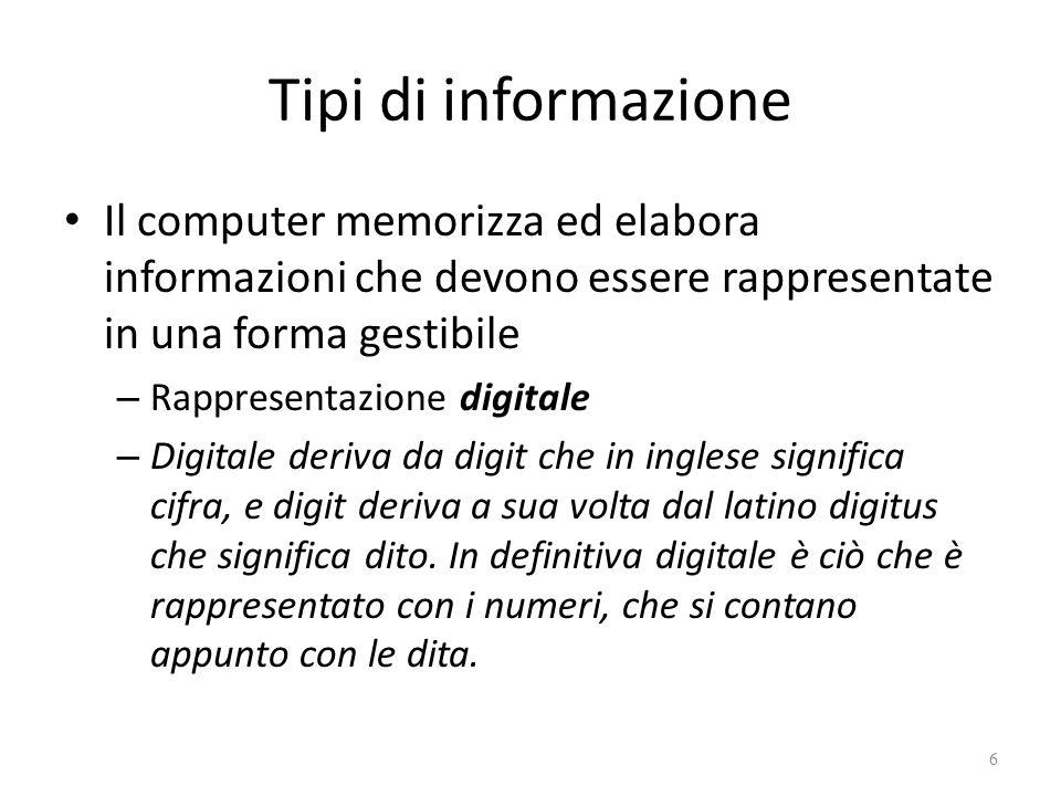 Tipi di informazione Il computer memorizza ed elabora informazioni che devono essere rappresentate in una forma gestibile – Rappresentazione digitale