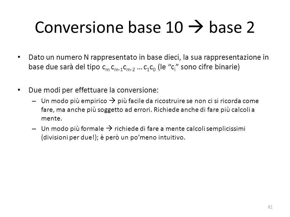 Conversione base 10  base 2 Dato un numero N rappresentato in base dieci, la sua rappresentazione in base due sarà del tipo c m c m-1 c m-2 … c 1 c 0 (le c i sono cifre binarie) Due modi per effettuare la conversione: – Un modo più empirico  più facile da ricostruire se non ci si ricorda come fare, ma anche più soggetto ad errori.