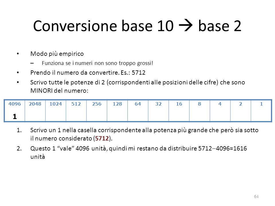 Conversione base 10  base 2 Modo più empirico – Funziona se i numeri non sono troppo grossi! Prendo il numero da convertire. Es.: 5712 Scrivo tutte l