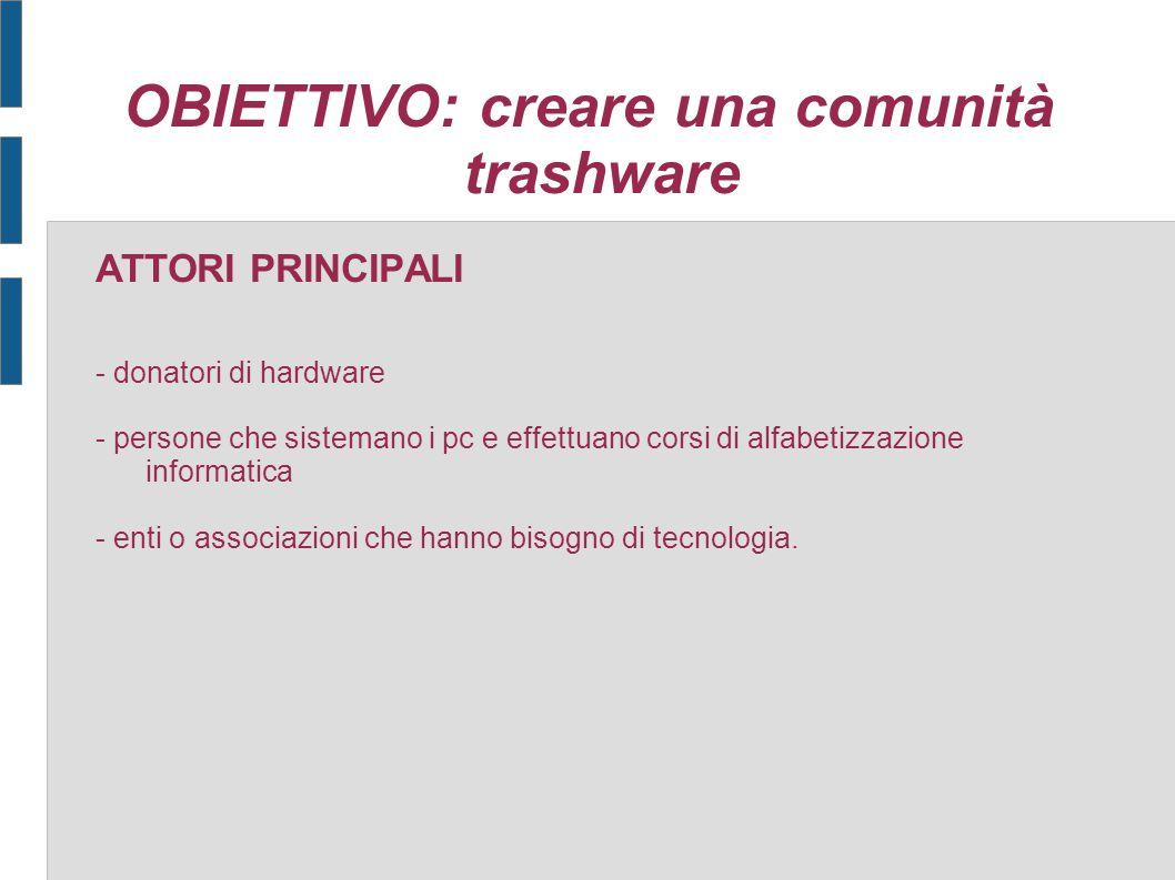 OBIETTIVO: creare una comunità trashware ATTORI PRINCIPALI - donatori di hardware - persone che sistemano i pc e effettuano corsi di alfabetizzazione