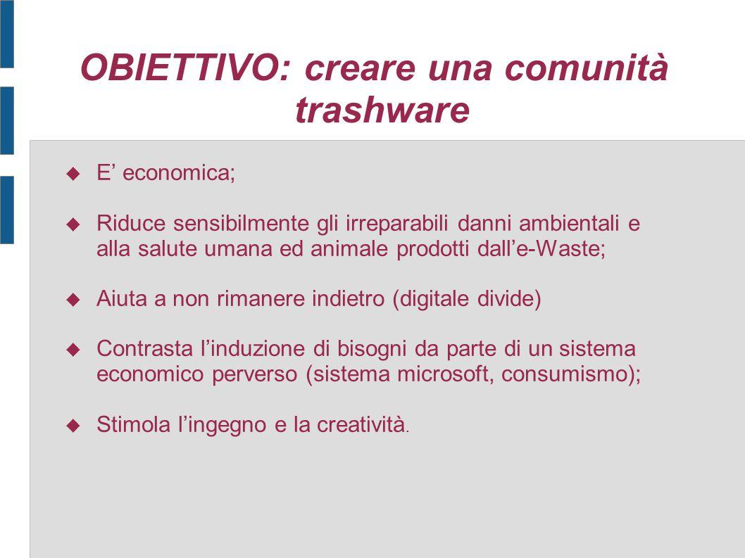OBIETTIVO: creare una comunità trashware  E' economica;  Riduce sensibilmente gli irreparabili danni ambientali e alla salute umana ed animale prodo