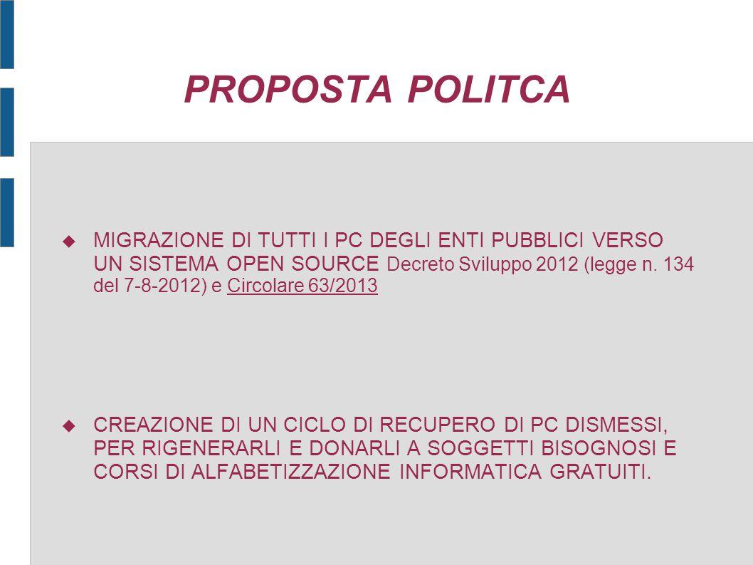 PROPOSTA POLITCA  MIGRAZIONE DI TUTTI I PC DEGLI ENTI PUBBLICI VERSO UN SISTEMA OPEN SOURCE Decreto Sviluppo 2012 (legge n. 134 del 7-8-2012) e Circo