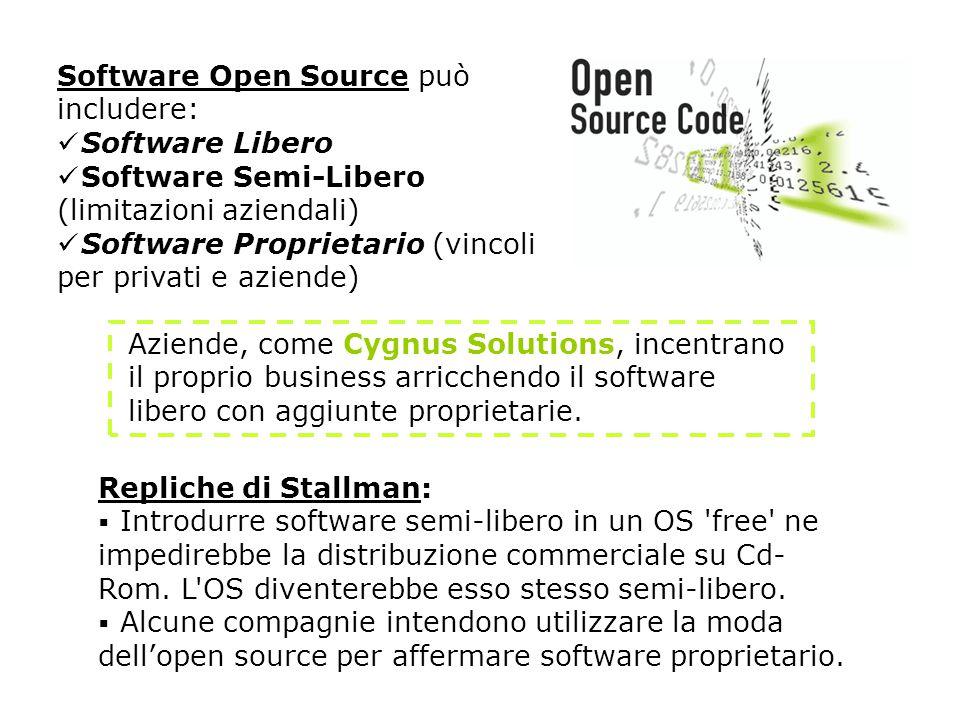 Aziende, come Cygnus Solutions, incentrano il proprio business arricchendo il software libero con aggiunte proprietarie.