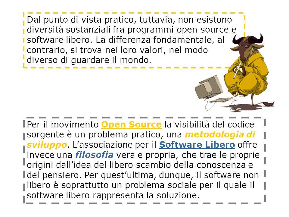 Per il movimento Open Source la visibilità del codice sorgente è un problema pratico, una metodologia di sviluppo.
