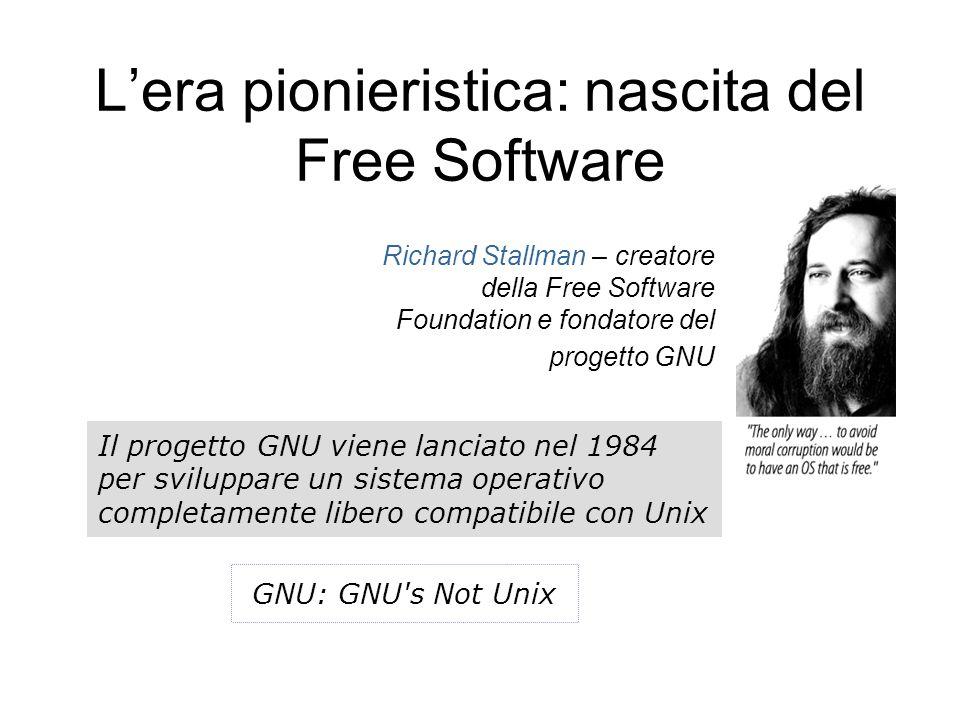 L'era pionieristica: nascita del Free Software Richard Stallman – creatore della Free Software Foundation e fondatore del progetto GNU Il progetto GNU viene lanciato nel 1984 per sviluppare un sistema operativo completamente libero compatibile con Unix GNU: GNU s Not Unix