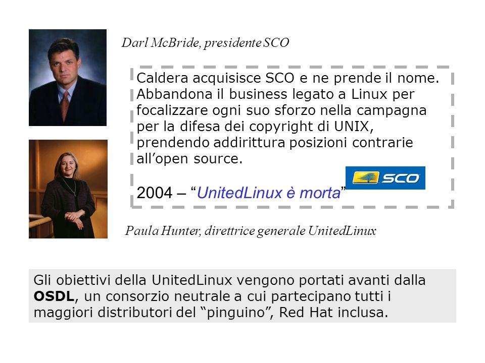 Paula Hunter, direttrice generale UnitedLinux Caldera acquisisce SCO e ne prende il nome.