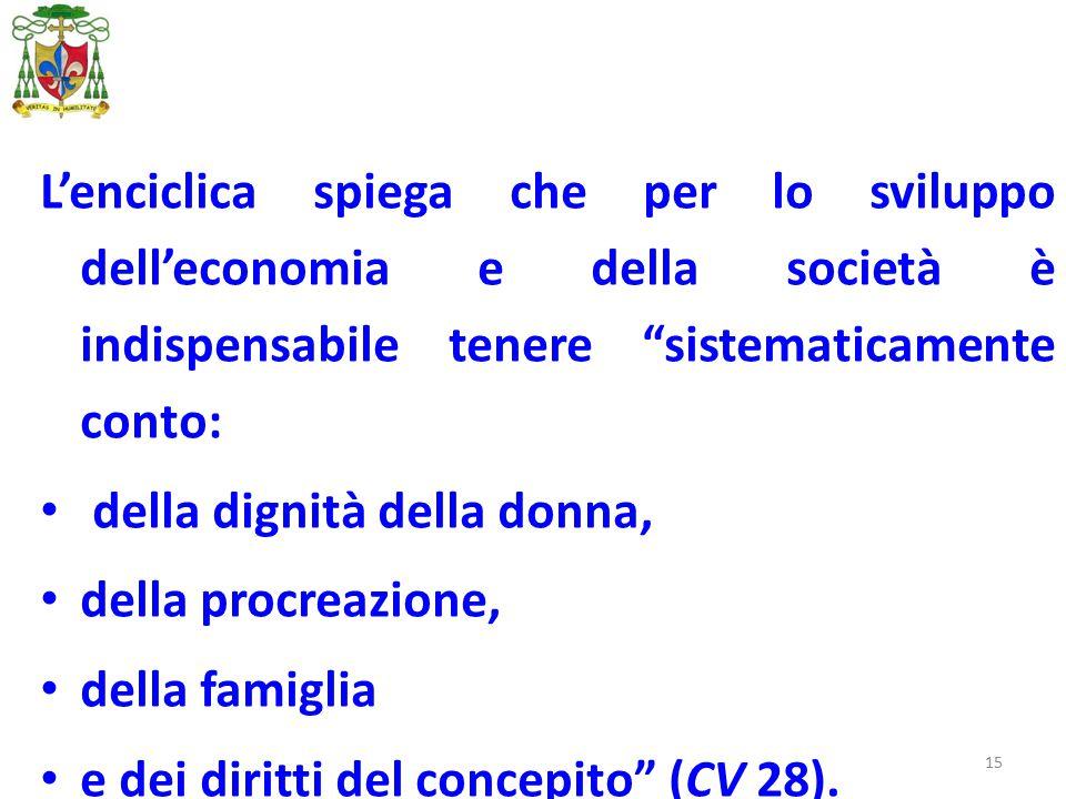 """15 L'enciclica spiega che per lo sviluppo dell'economia e della società è indispensabile tenere """"sistematicamente conto: della dignità della donna, de"""
