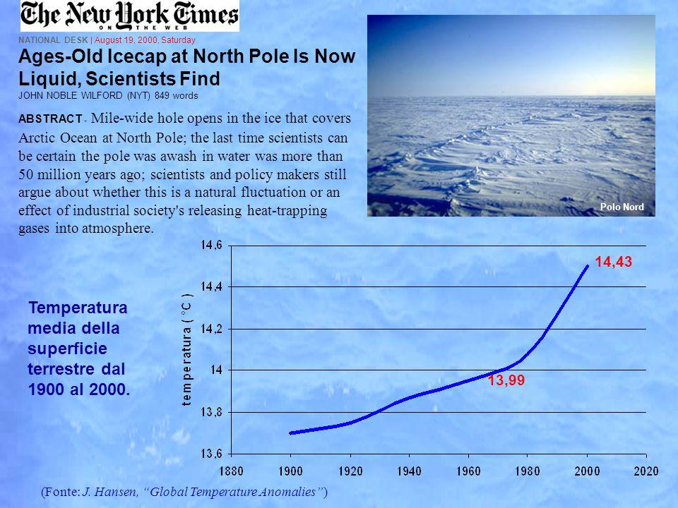 Temperatura media della superficie terrestre dal 1900 al 2000.