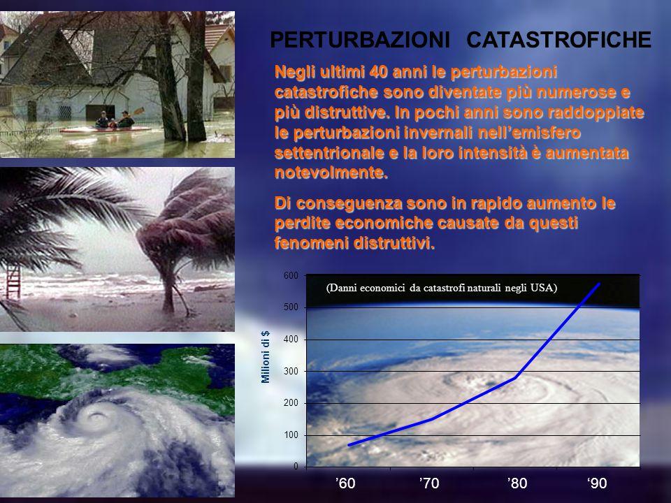 PERTURBAZIONI CATASTROFICHE '60 '70 '80 '90 Negli ultimi 40 anni le perturbazioni catastrofiche sono diventate più numerose e più distruttive.