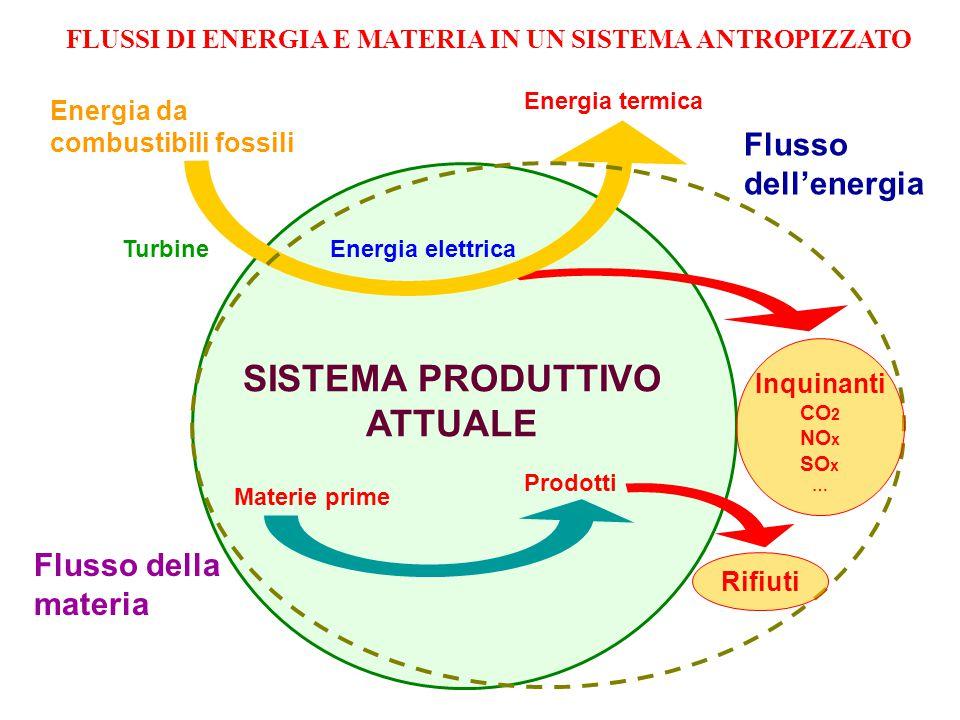 Energia da combustibili fossili Turbine Energia elettrica Energia termica SISTEMA PRODUTTIVO ATTUALE Flusso dell'energia Flusso della materia Materie prime Prodotti Rifiuti Inquinanti CO 2 NO x SO x … FLUSSI DI ENERGIA E MATERIA IN UN SISTEMA ANTROPIZZATO