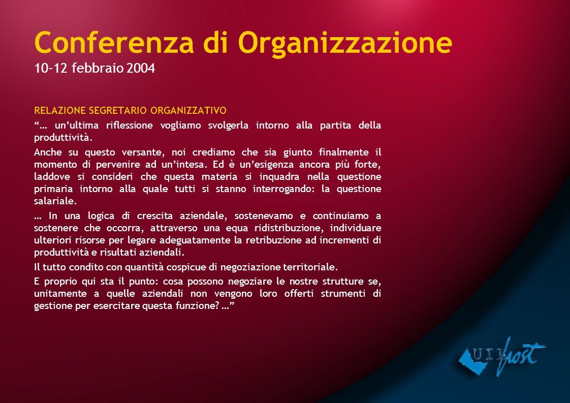 Conferenza di Organizzazione 10-12 febbraio 2004 RELAZIONE SEGRETARIO ORGANIZZATIVO … un'ultima riflessione vogliamo svolgerla intorno alla partita della produttività.