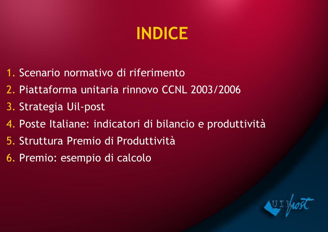 1. Scenario normativo di riferimento 2. Piattaforma unitaria rinnovo CCNL 2003/2006 3. Strategia Uil-post 4. Poste Italiane: indicatori di bilancio e