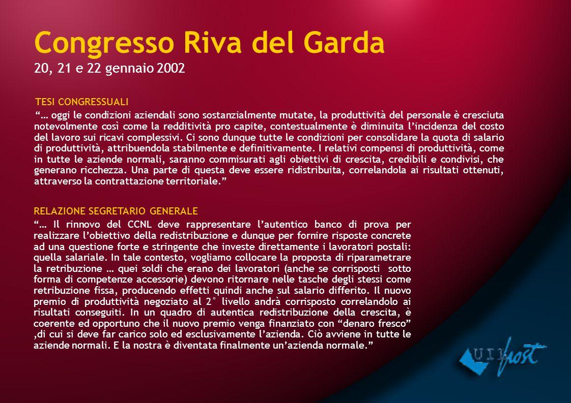 """Congresso Riva del Garda 20, 21 e 22 gennaio 2002 TESI CONGRESSUALI """"… oggi le condizioni aziendali sono sostanzialmente mutate, la produttività del p"""