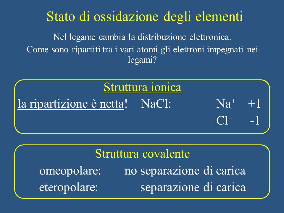 Numero di ossidazione Carica netta di uno ione (legame ionico) Carica che avrebbe l'elemento se il legame fosse ionico n.o.