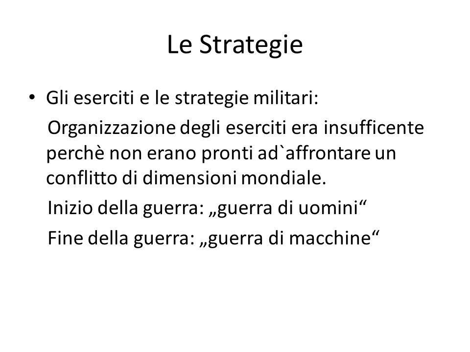 Le Strategie Gli eserciti e le strategie militari: Organizzazione degli eserciti era insufficente perchè non erano pronti ad`affrontare un conflitto d