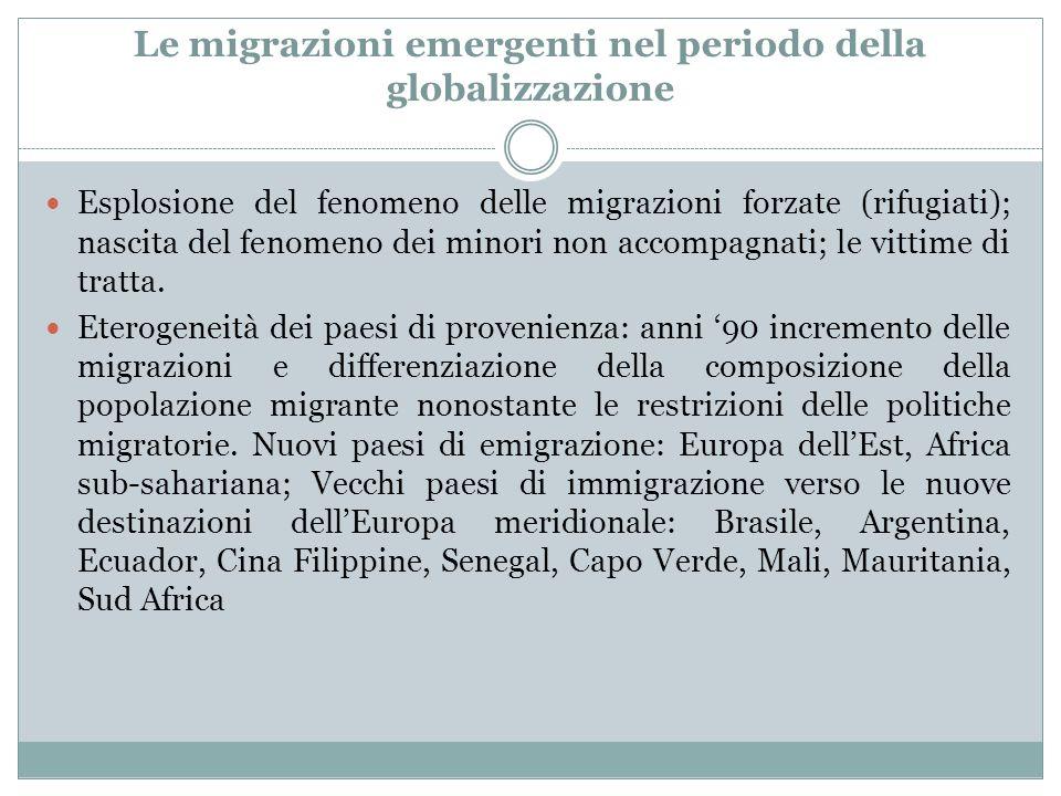 Le migrazioni emergenti nel periodo della globalizzazione Esplosione del fenomeno delle migrazioni forzate (rifugiati); nascita del fenomeno dei minori non accompagnati; le vittime di tratta.