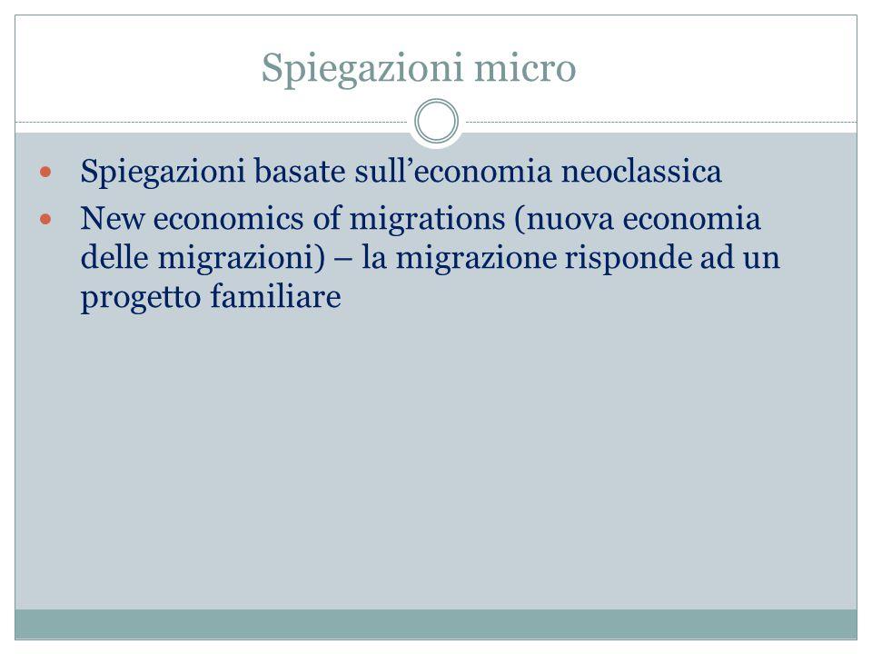 Spiegazioni micro Spiegazioni basate sull'economia neoclassica New economics of migrations (nuova economia delle migrazioni) – la migrazione risponde ad un progetto familiare
