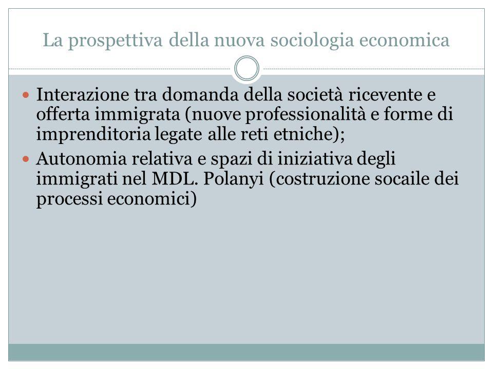 La prospettiva della nuova sociologia economica Interazione tra domanda della società ricevente e offerta immigrata (nuove professionalità e forme di imprenditoria legate alle reti etniche); Autonomia relativa e spazi di iniziativa degli immigrati nel MDL.