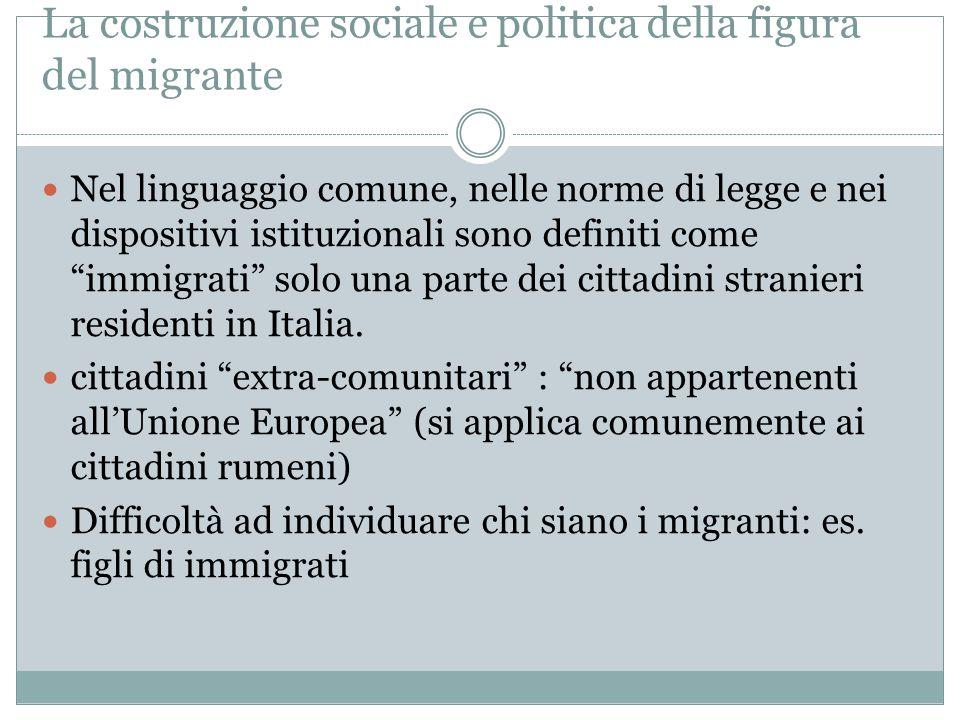 La costruzione sociale e politica della figura del migrante Nel linguaggio comune, nelle norme di legge e nei dispositivi istituzionali sono definiti come immigrati solo una parte dei cittadini stranieri residenti in Italia.