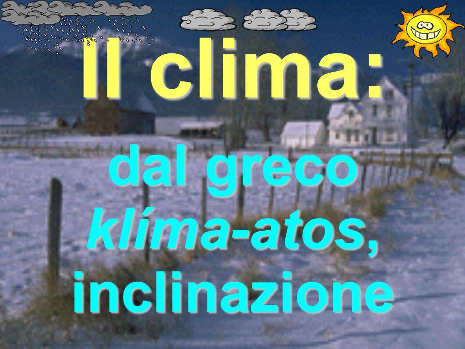 Il clima: dal greco klíma-atos, inclinazione