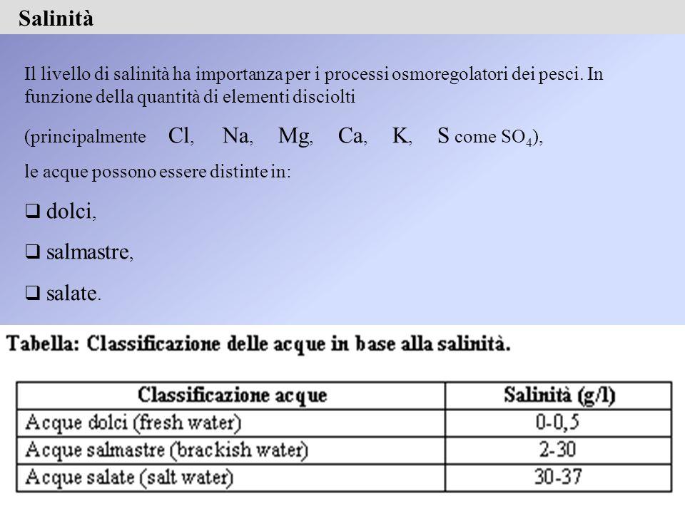 Il livello di salinità ha importanza per i processi osmoregolatori dei pesci.
