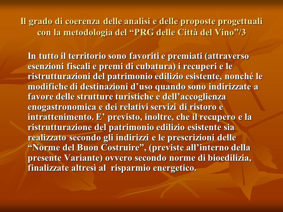 """Il grado di coerenza delle analisi e delle proposte progettuali con la metodologia del """"PRG delle Città del Vino""""/3 In tutto il territorio sono favori"""