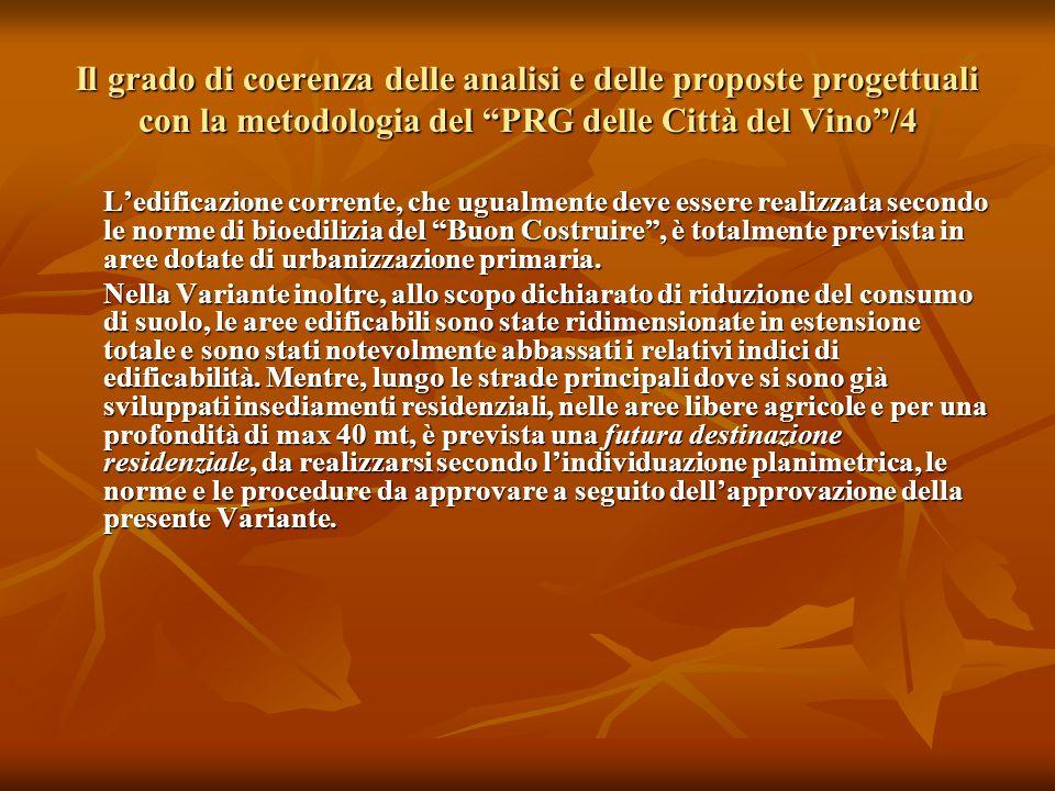 """Il grado di coerenza delle analisi e delle proposte progettuali con la metodologia del """"PRG delle Città del Vino""""/4 L'edificazione corrente, che ugual"""