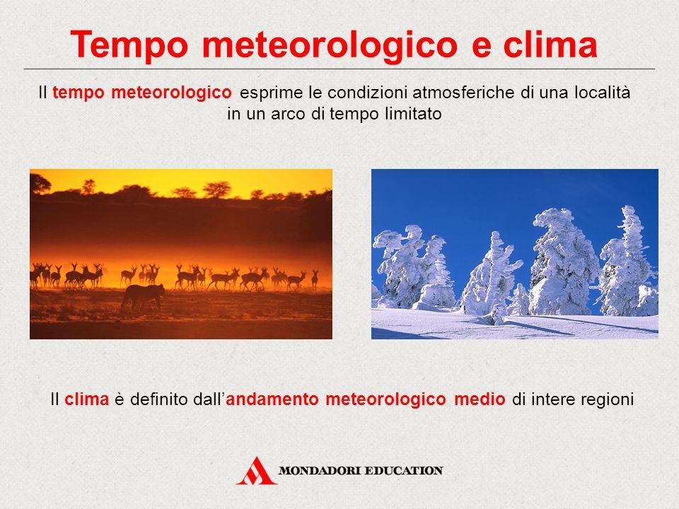 Tempo meteorologico e clima Il tempo meteorologico esprime le condizioni atmosferiche di una località in un arco di tempo limitato Il clima è definito dall'andamento meteorologico medio di intere regioni
