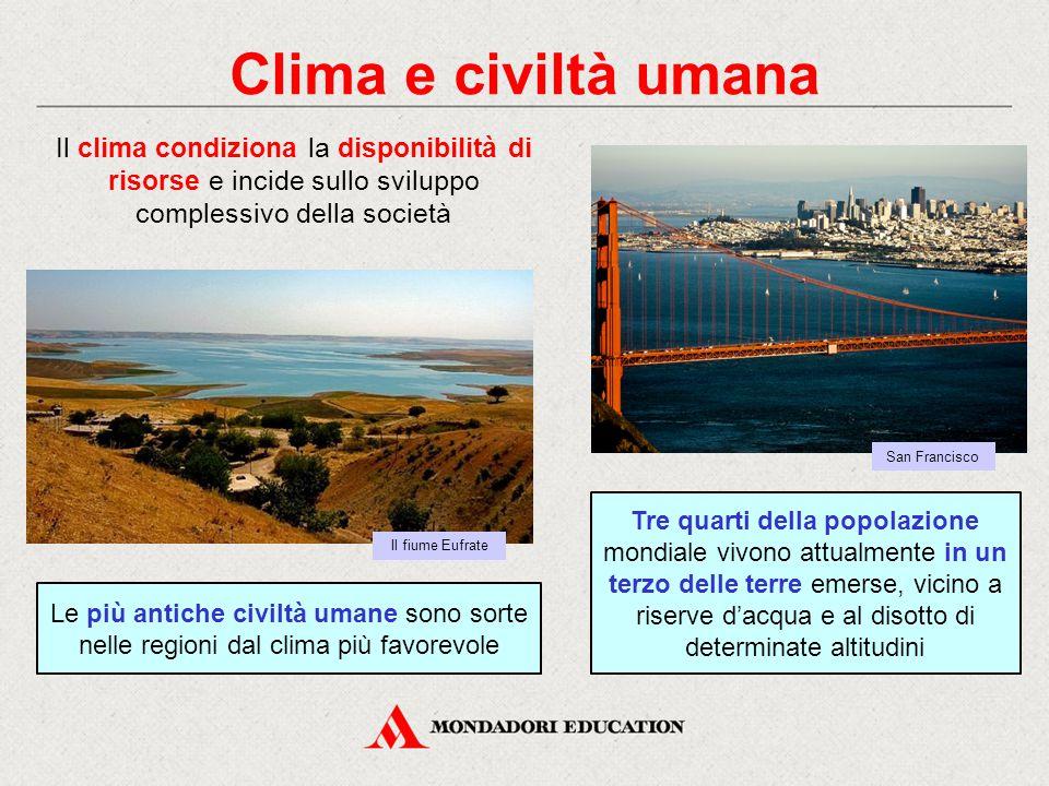 Clima e civiltà umana Il clima condiziona la disponibilità di risorse e incide sullo sviluppo complessivo della società Il fiume Eufrate San Francisco