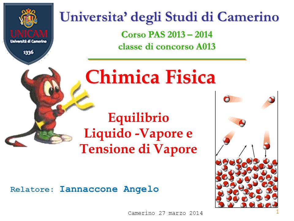 1 Chimica Fisica Equilibrio Liquido -Vapore e Tensione di Vapore Universita' degli Studi di Camerino Corso PAS 2013 – 2014 classe di concorso A013 Relatore: Iannaccone Angelo Camerino 27 marzo 2014