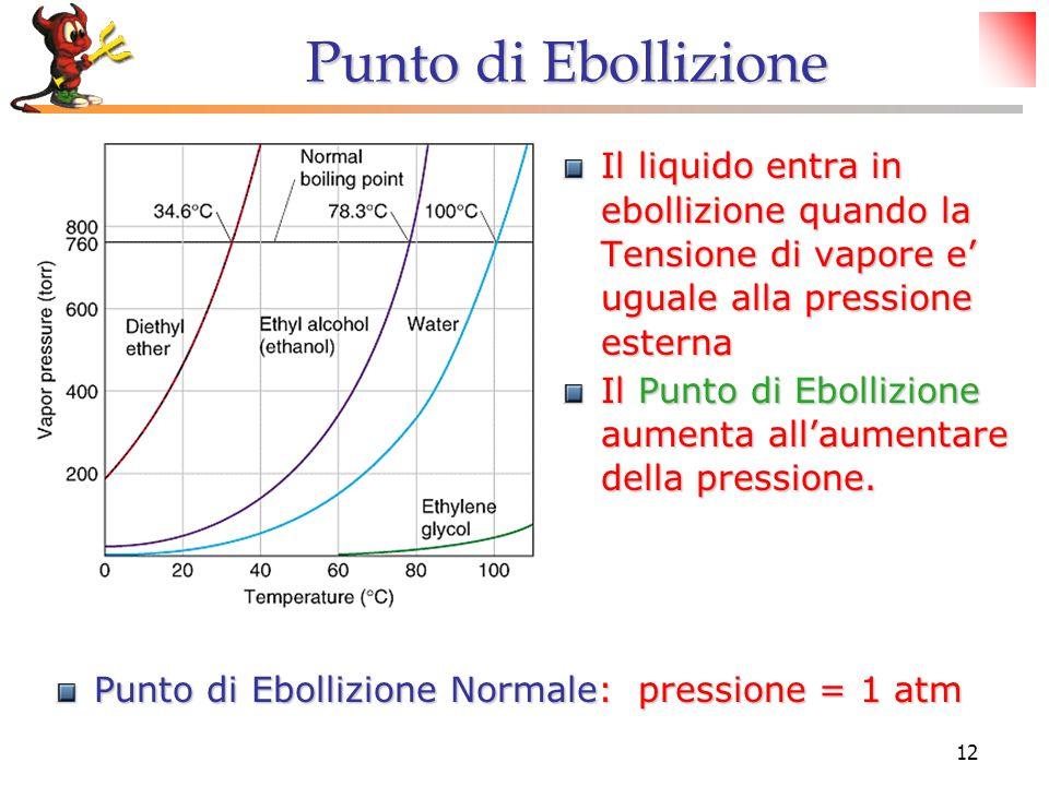 12 Punto di Ebollizione Il liquido entra in ebollizione quando la Tensione di vapore e' uguale alla pressione esterna Il Punto di Ebollizione aumenta all'aumentare della pressione.