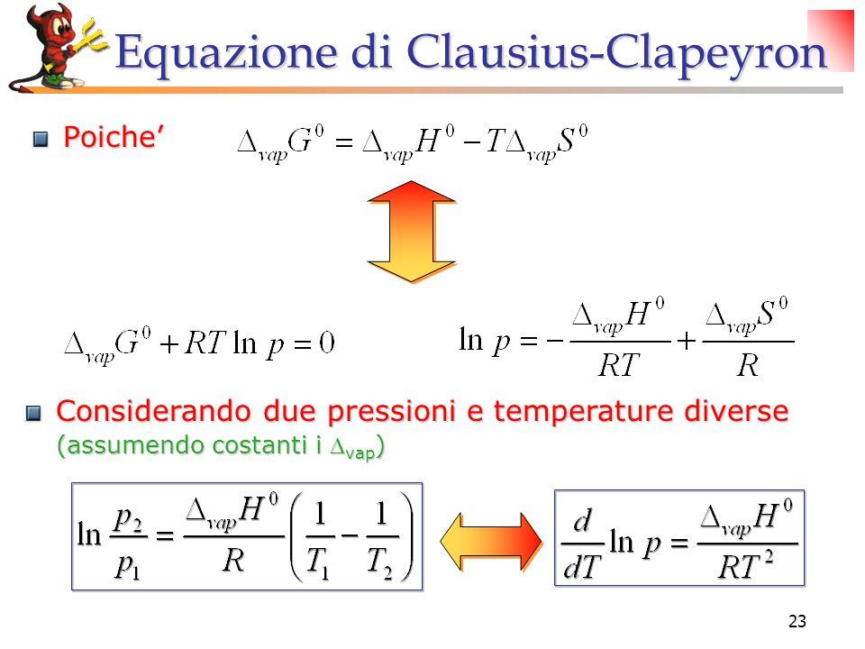 23 Equazione di Clausius-Clapeyron Poiche' Considerando due pressioni e temperature diverse (assumendo costanti i  vap )