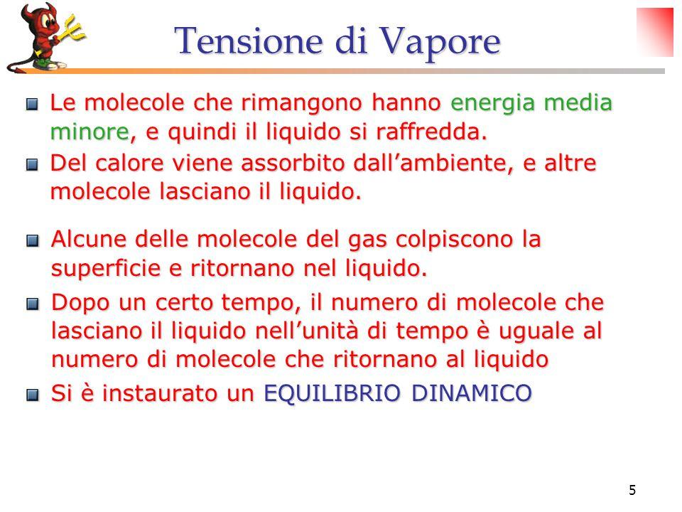 5 Tensione di Vapore Le molecole che rimangono hanno energia media minore, e quindi il liquido si raffredda. Del calore viene assorbito dall'ambiente,