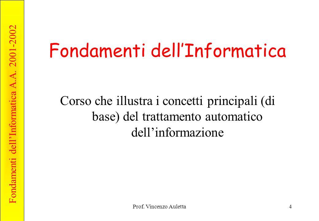 Fondamenti dell'Informatica A.A. 2001-2002 Prof. Vincenzo Auletta15 Contenuto Informativo dei Dati