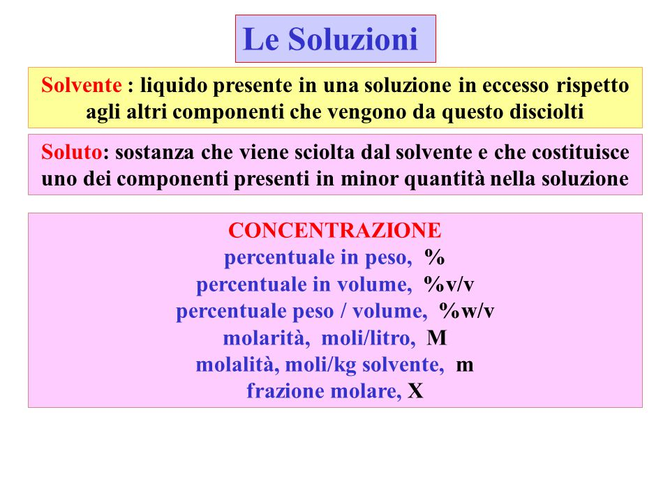 Le Soluzioni Solvente : liquido presente in una soluzione in eccesso rispetto agli altri componenti che vengono da questo disciolti Soluto: sostanza c