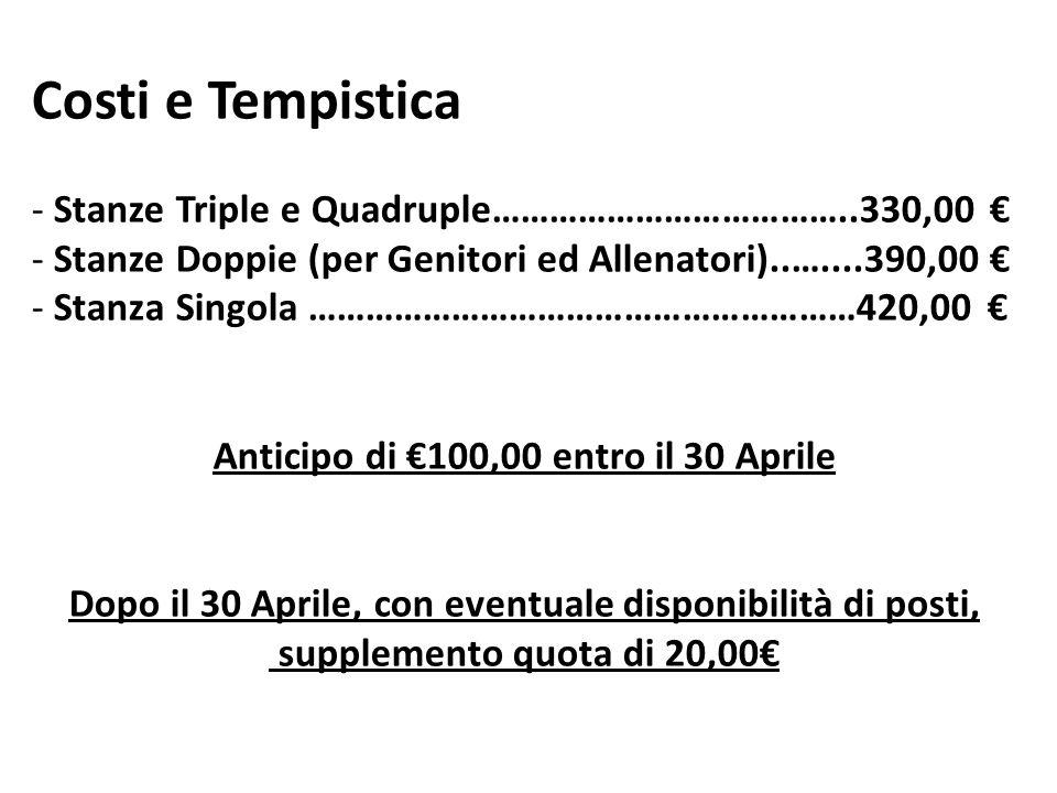Costi e Tempistica - Stanze Triple e Quadruple………………………………..330,00 € - Stanze Doppie (per Genitori ed Allenatori)..…....390,00 € - Stanza Singola …………