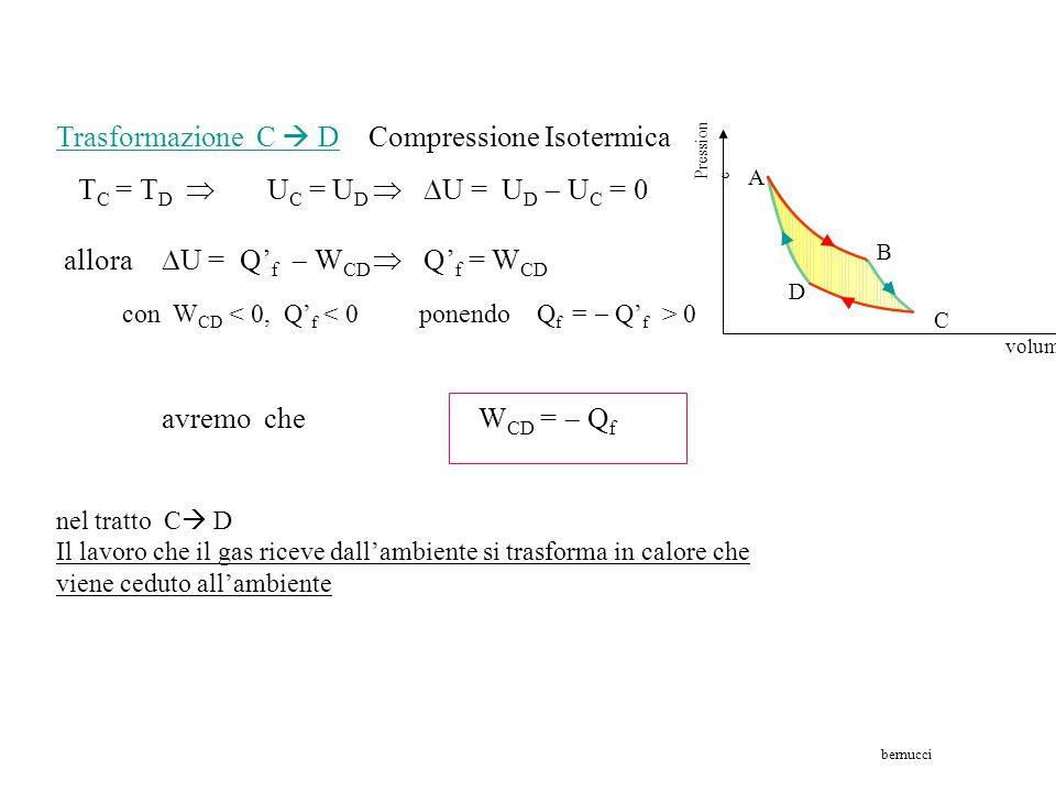 Ciclo di Carnot - Calcolo del Lavoro Trasformazione B  C Espansione Adiabatica Q = 0  allora  U = Q c  W BC   U =  W BC  Uc  U B + W BC = 0 