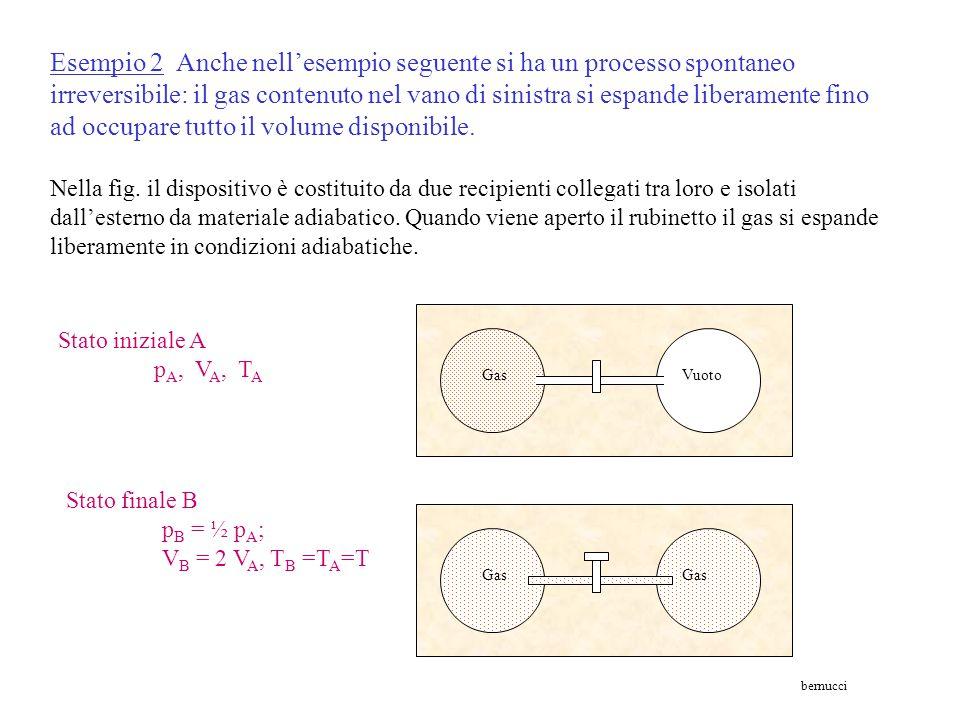 Esempio 1 - Il passaggio di calore da un corpo caldo ad uno freddo è un processo spontaneo irreversibile in cui si verifica un aumento dell'entropia d