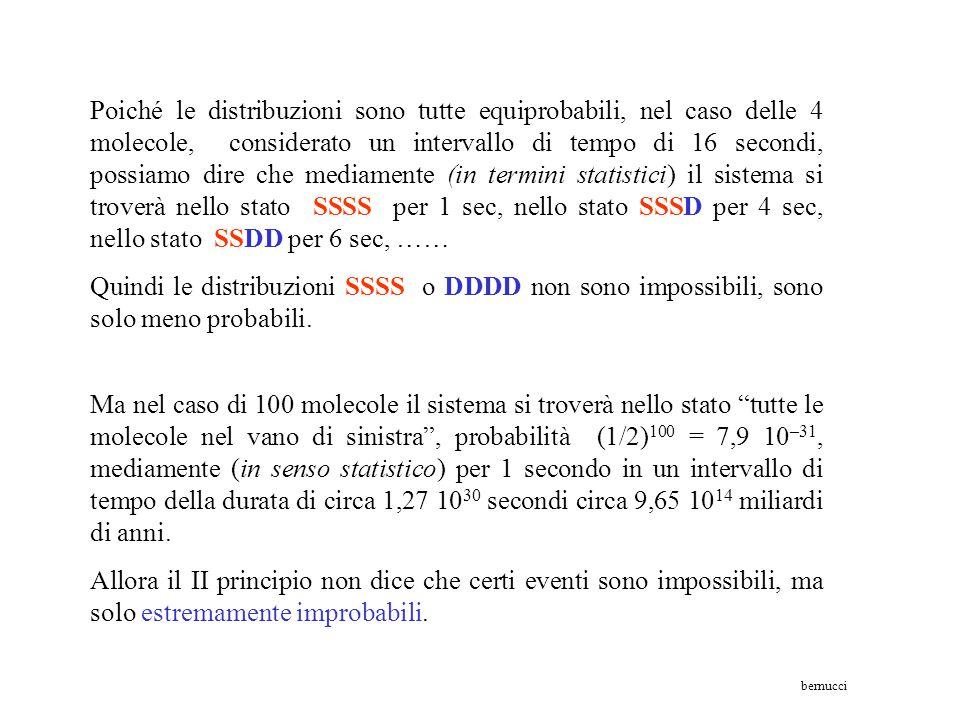 5°– DDDD molteplicità W = 1 S 5 = k ln 1 = 0 J/K 1°- SSSSmolteplicità W = 1 S 1 = k ln 1 = 0 J/K 2°– SSSDmolteplicità W = 4 S 2 = k ln 4 = 1,91 10 -23