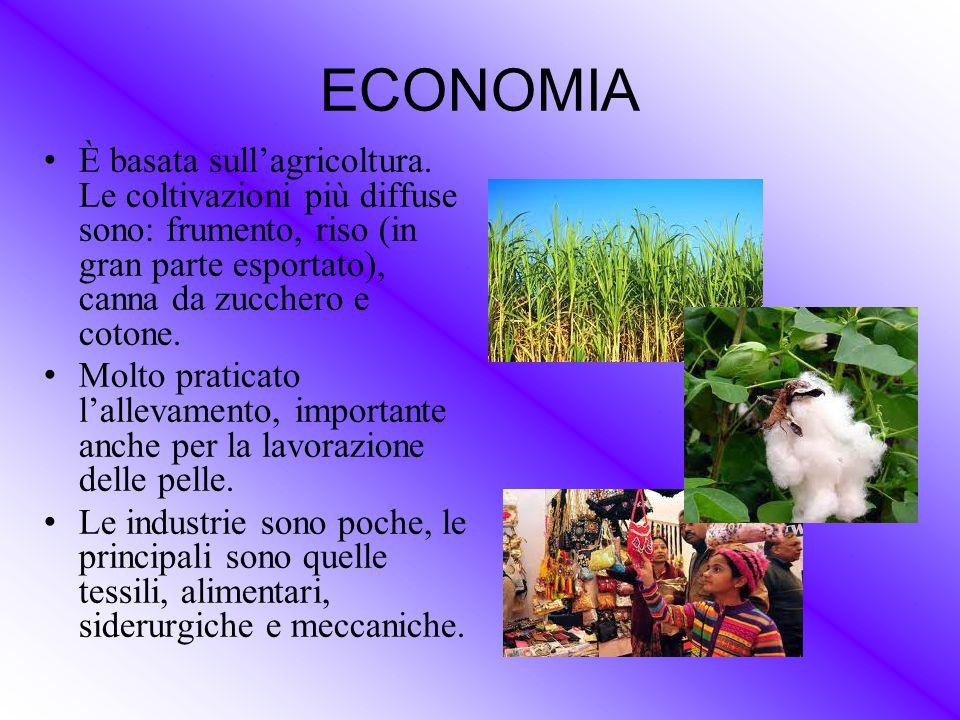 ECONOMIA È basata sull'agricoltura. Le coltivazioni più diffuse sono: frumento, riso (in gran parte esportato), canna da zucchero e cotone. Molto prat