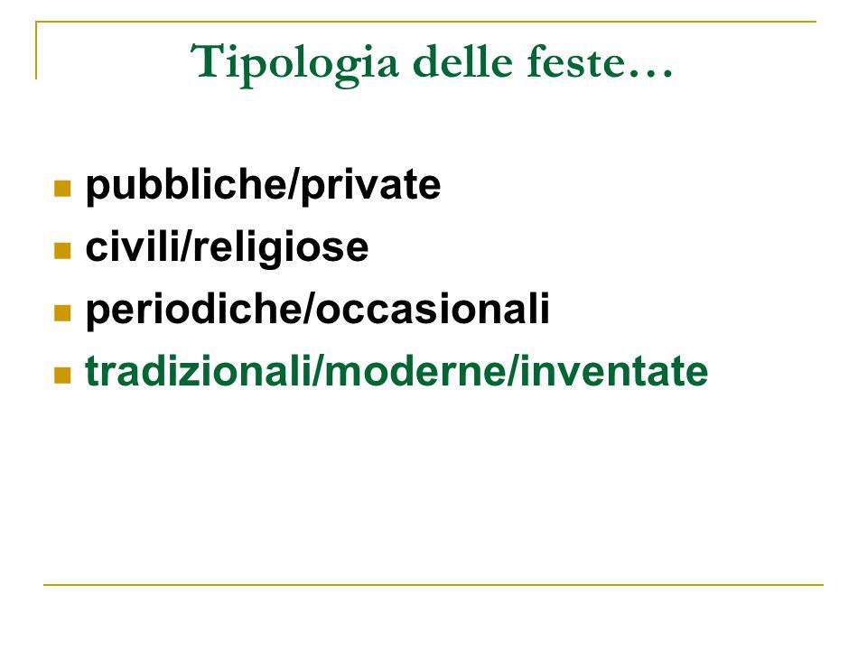 Tipologia delle feste… pubbliche/private civili/religiose periodiche/occasionali tradizionali/moderne/inventate