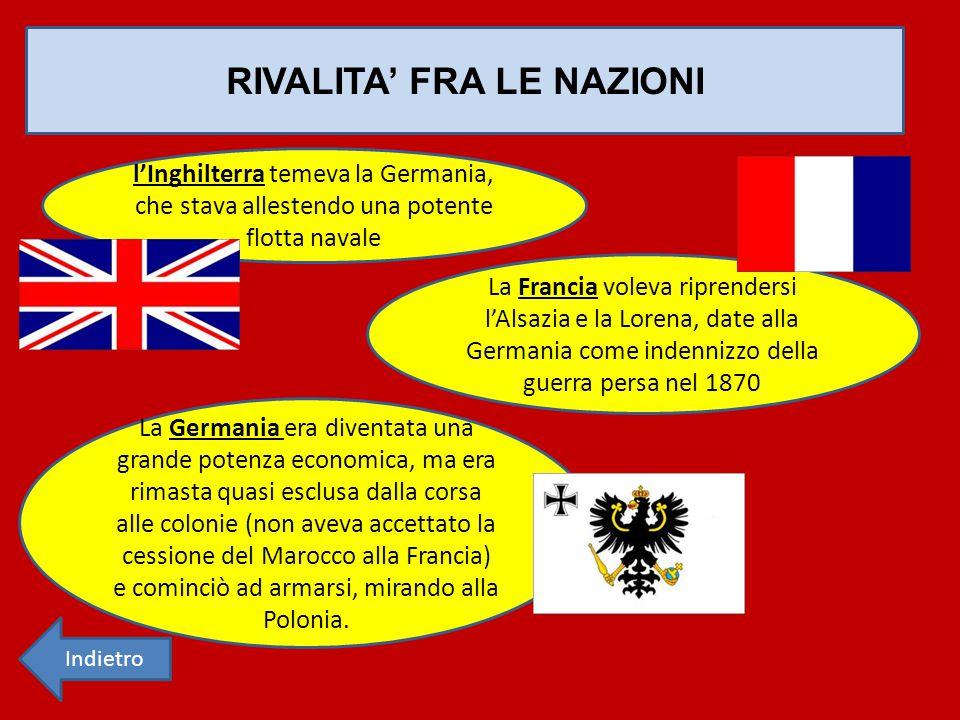 RIVALITA' FRA LE NAZIONI: ALLEANZE Triplice Alleanza (1882): Italia Austria Prussia Triplice Intesa (1907): Inghilterra Francia Russia Indietro