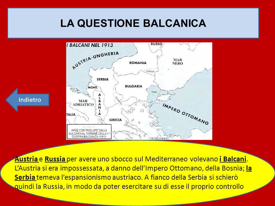 LA QUESTIONE BALCANICA Austria e Russia per avere uno sbocco sul Mediterraneo volevano i Balcani. L'Austria si era impossessata, a danno dell'Impero O