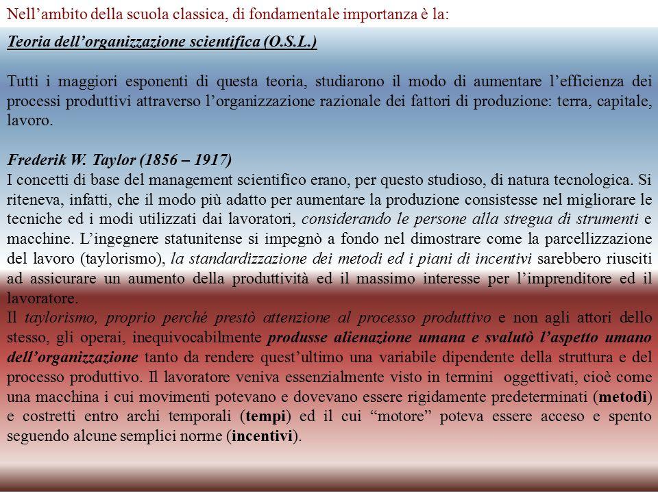 Nell'ambito della scuola classica, di fondamentale importanza è la: Teoria dell'organizzazione scientifica (O.S.L.) Tutti i maggiori esponenti di questa teoria, studiarono il modo di aumentare l'efficienza dei processi produttivi attraverso l'organizzazione razionale dei fattori di produzione: terra, capitale, lavoro.