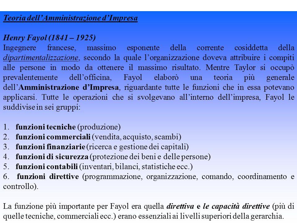 Teoria dell'Amministrazione d'Impresa Henry Fayol (1841 – 1925) Ingegnere francese, massimo esponente della corrente cosiddetta della dipartimentalizzazione, secondo la quale l'organizzazione doveva attribuire i compiti alle persone in modo da ottenere il massimo risultato.
