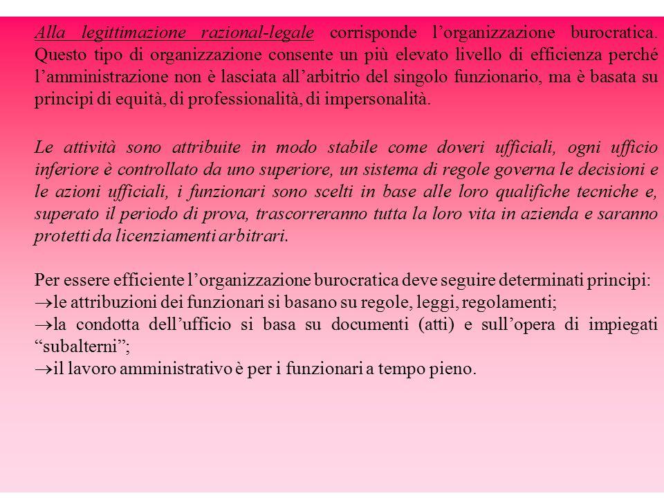 Alla legittimazione razional-legale corrisponde l'organizzazione burocratica.