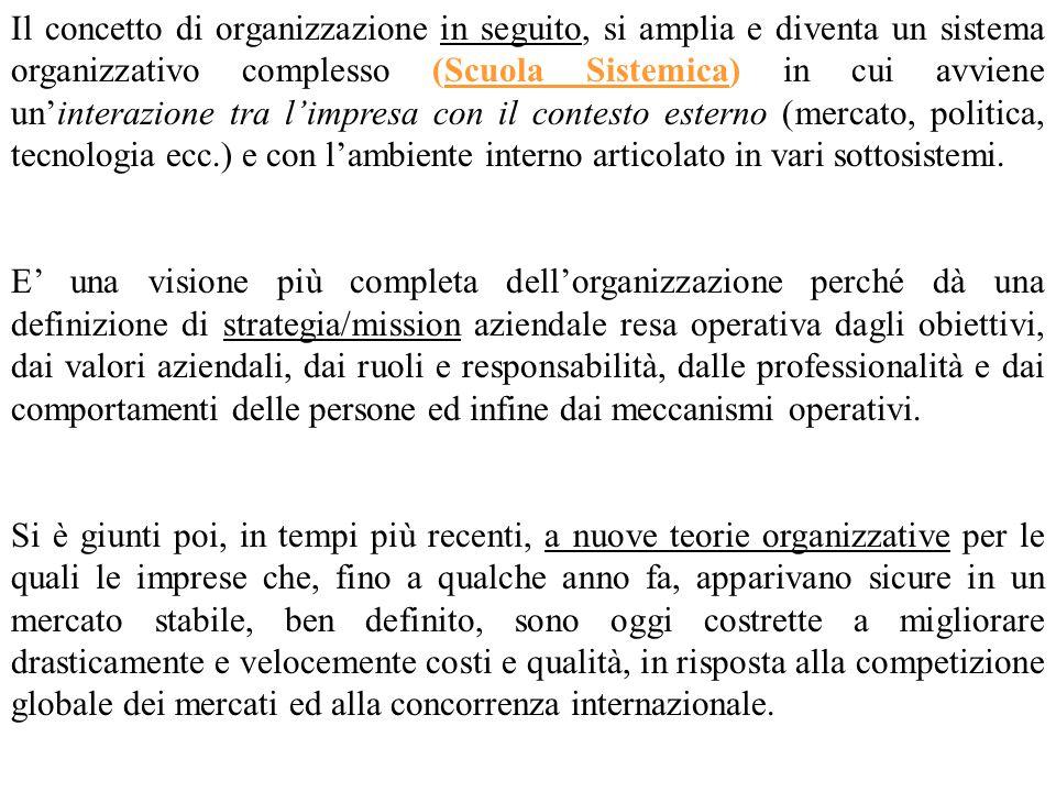Il concetto di organizzazione in seguito, si amplia e diventa un sistema organizzativo complesso (Scuola Sistemica) in cui avviene un'interazione tra l'impresa con il contesto esterno (mercato, politica, tecnologia ecc.) e con l'ambiente interno articolato in vari sottosistemi.