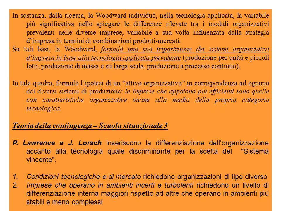 In sostanza, dalla ricerca, la Woodward individuò, nella tecnologia applicata, la variabile più significativa nello spiegare le differenze rilevate tra i moduli organizzativi prevalenti nelle diverse imprese, variabile a sua volta influenzata dalla strategia d'impresa in termini di combinazioni prodotti-mercati.