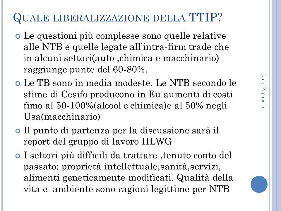 Q UALE LIBERALIZZAZIONE DELLA TTIP? Le questioni più complesse sono quelle relative alle NTB e quelle legate all'intra-firm trade che in alcuni settor